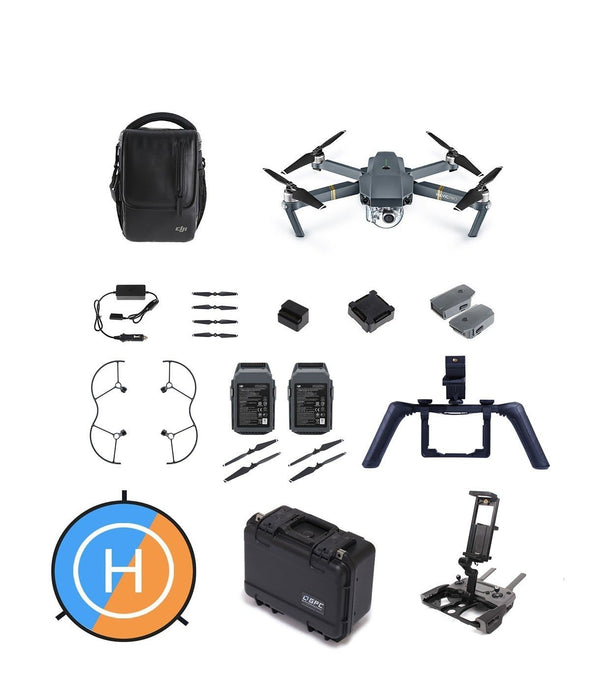 DJI Mavic Pro Bundle - Fly More Combo, Tablet Holder, GPC Case, Handheld Gimbal & More