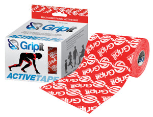 "GRIPIT ACTIVE TAPE - 4 WAY STRETCH - 4"" X 5.5 YDS. - RED WITH LOGO"