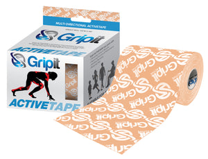 "GRIPIT ACTIVE TAPE - 4 WAY STRETCH - 4"" X 5.5 YDS. - TAN WITH LOGO"