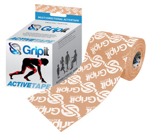 "3"" X 5.5 YDS GRIPIT - ACTIVE TAPE - 4 WAY STRETCH - TAN WITH LOGO"