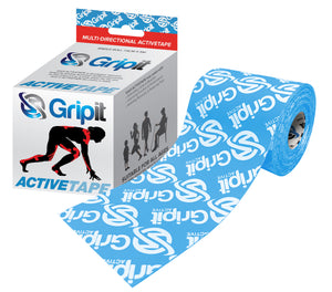 "GRIPIT ACTIVE TAPE - 4 WAY STRETCH - 3"" X 5.5 YDS. - BLUE WITH LOGO"