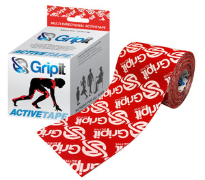 "GRIPIT ACTIVE TAPE - 4 WAY STRETCH - 3"" X 5.5 YDS. - RED WITH LOGO"