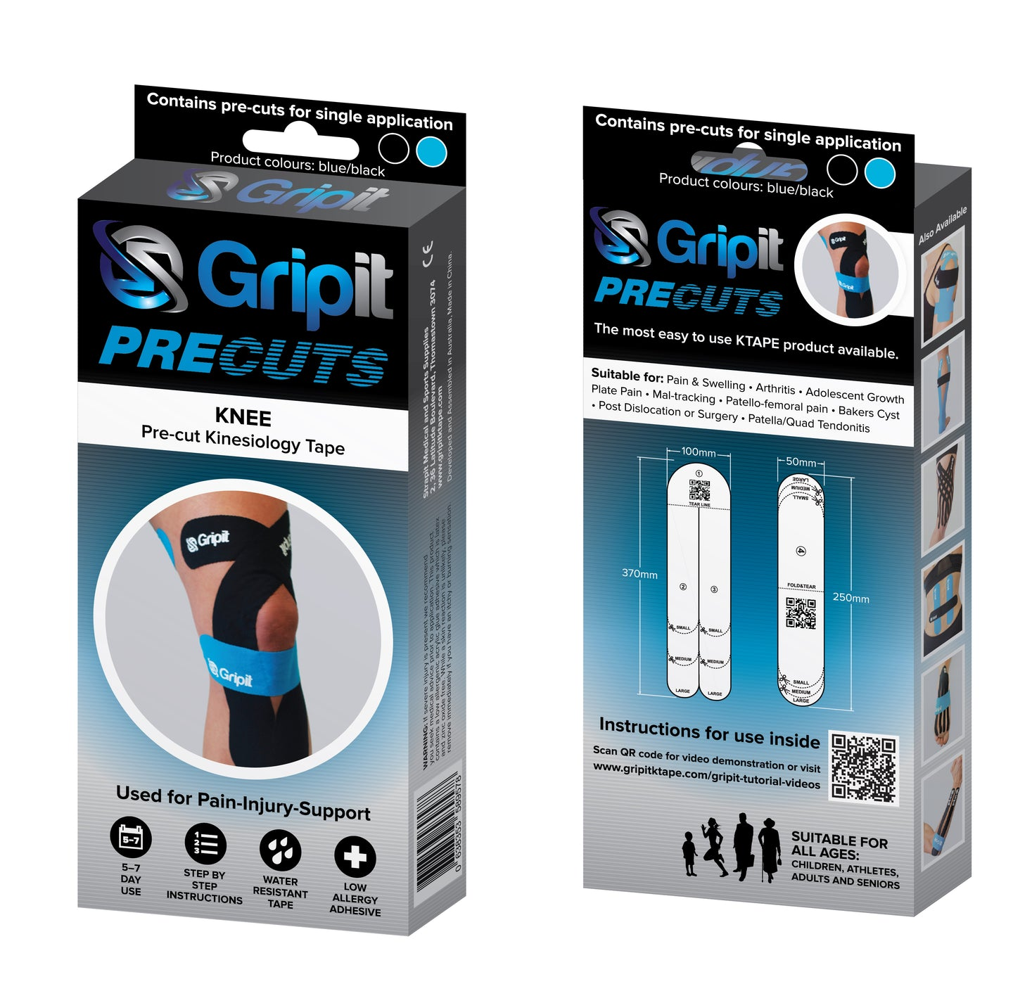 GRIPIT PRECUT - KNEE - BLUE / BLACK