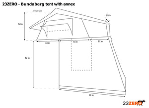 Bundaberg 3+ Person Rooftop Tent Bed with Annex (Queen) - No Huddle Life