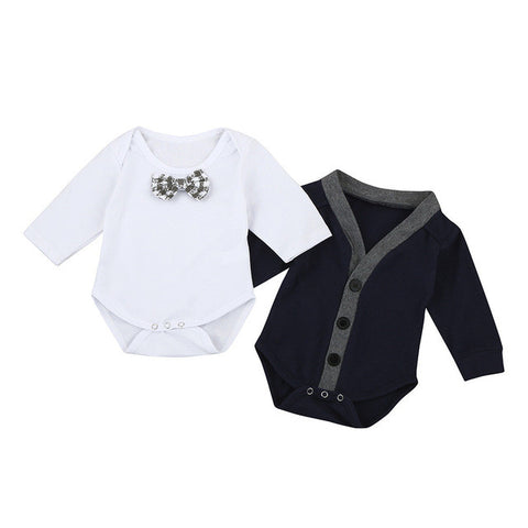 Little Man Cardigan and Romper Set