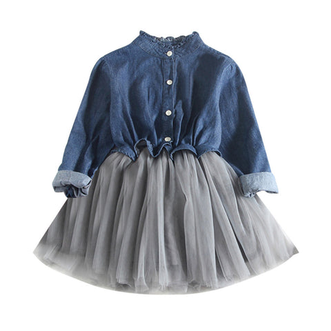 The Misha Denim & Tulle Dress