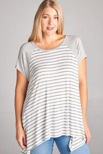 Heather Grey Stripe Top