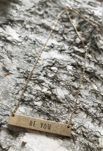 """Be You"" Bar Necklace - Gold"
