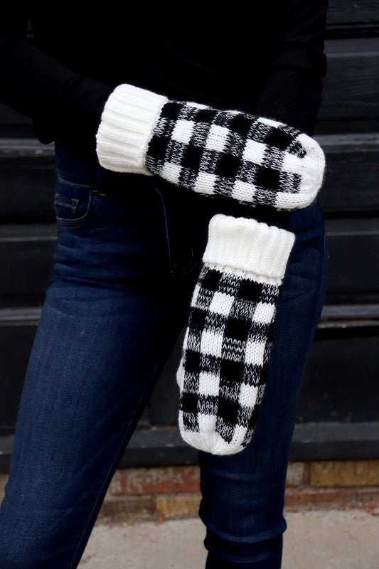 White Plaid Mittens