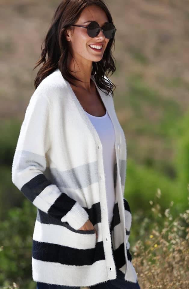 Soft Stripe Cardigan
