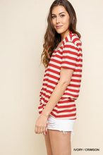 Crimson & Ivory Stripe Knot Front