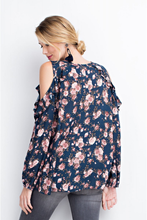 Cold Ruffle Shoulder - Navy