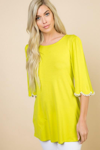 Bright & Tassel Detail Top - Lime