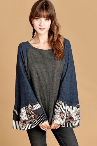 Mixed Pattern Bell Sleeve Top
