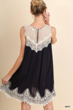 Lace Top Dress - Navy