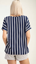 Navy Vertical Striped Top