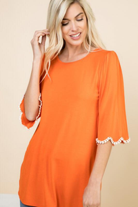 Bright & Tassel Detail Top - Orange