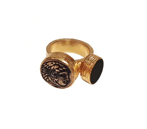 Double Coin Ring Homme
