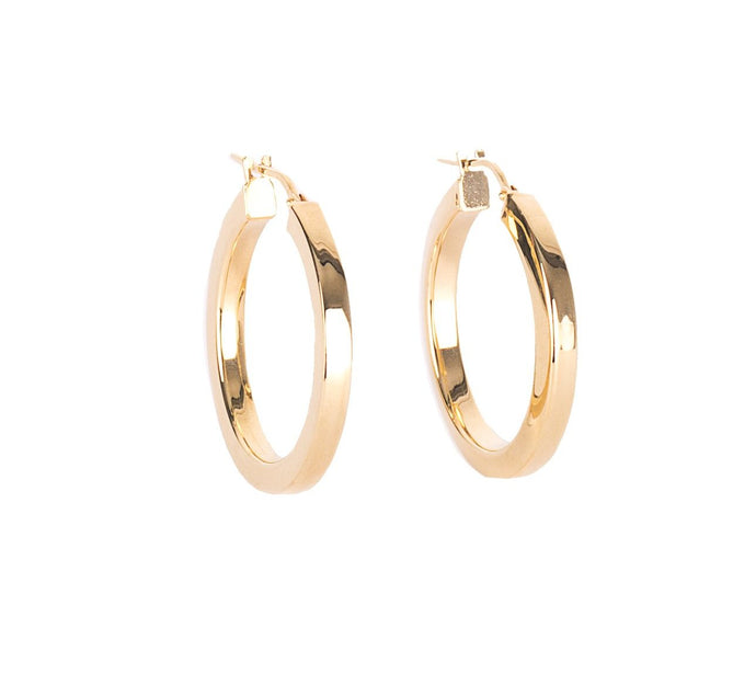 Flat Hoop Earrings - Gold