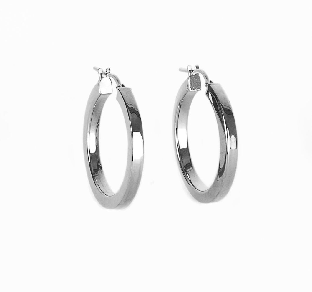 Flat Hoop Earrings - Silver