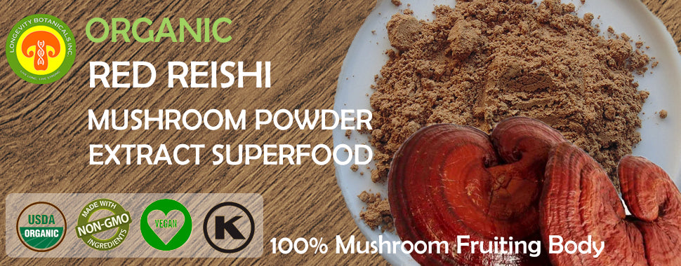 Organic Red Reishi Mushroom powder extract by Longevity Botanicals