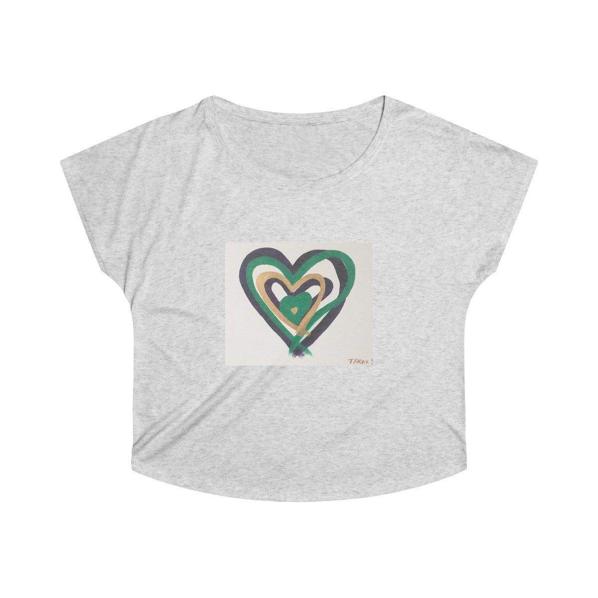 Heart Women's Tri-Blend Dolman T-shirt in Heather White - Tara Price Art