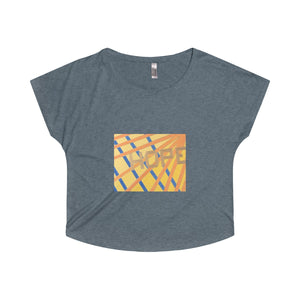 Hope  - Women's Tri-Blend Dolman T-shirt in Indigo