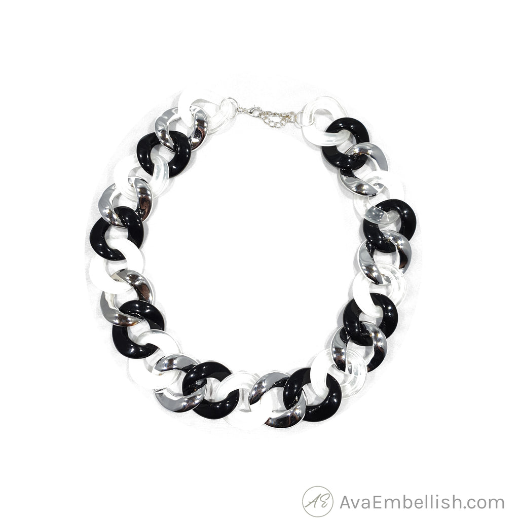 Love Linked Acrylic Chain Black & White