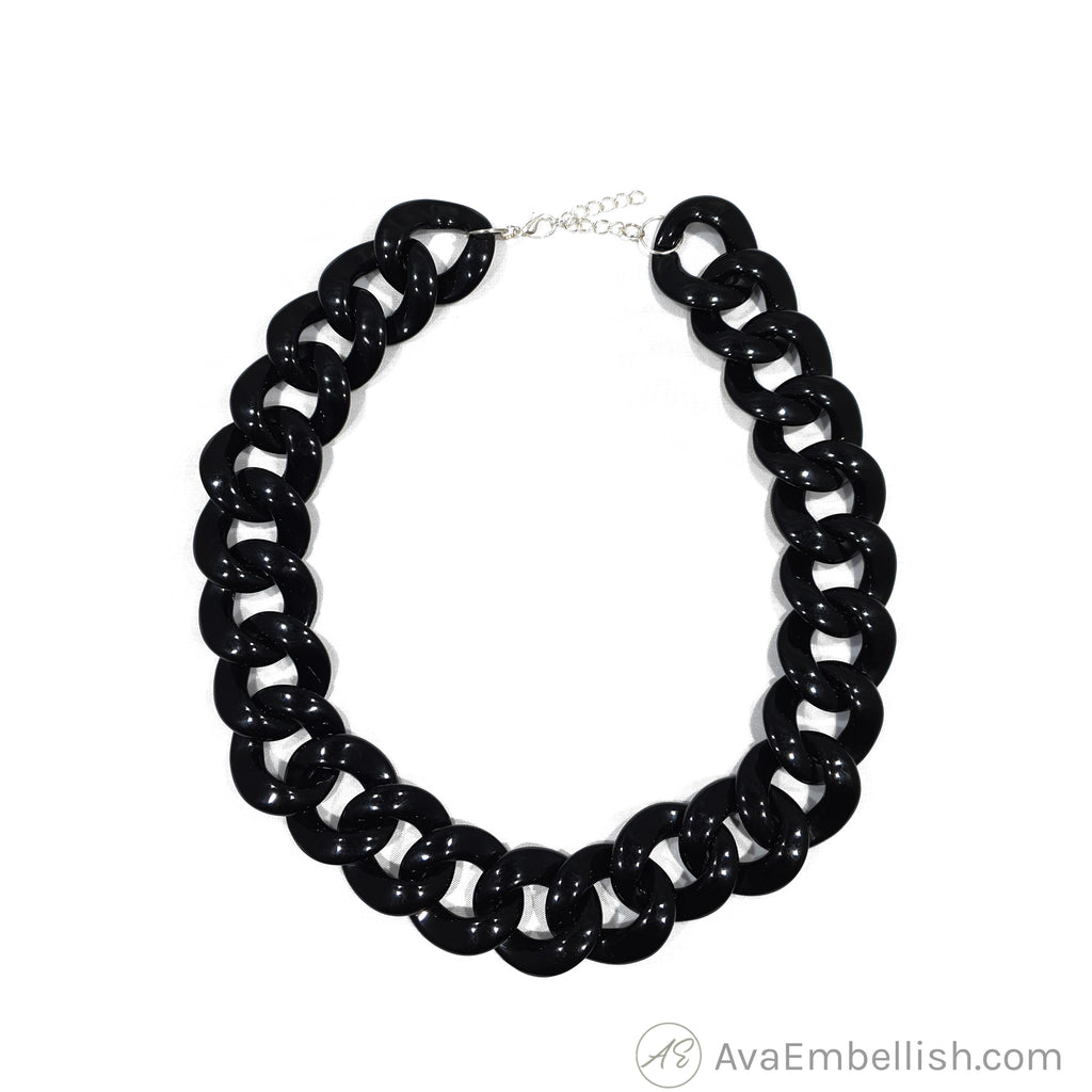 Love Linked Acrylic Chain Black