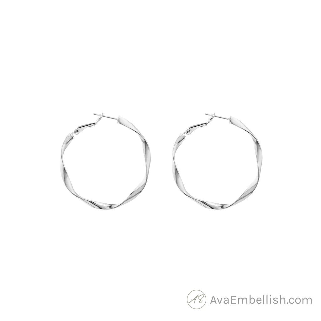 Eternal Twist Silver Hoops