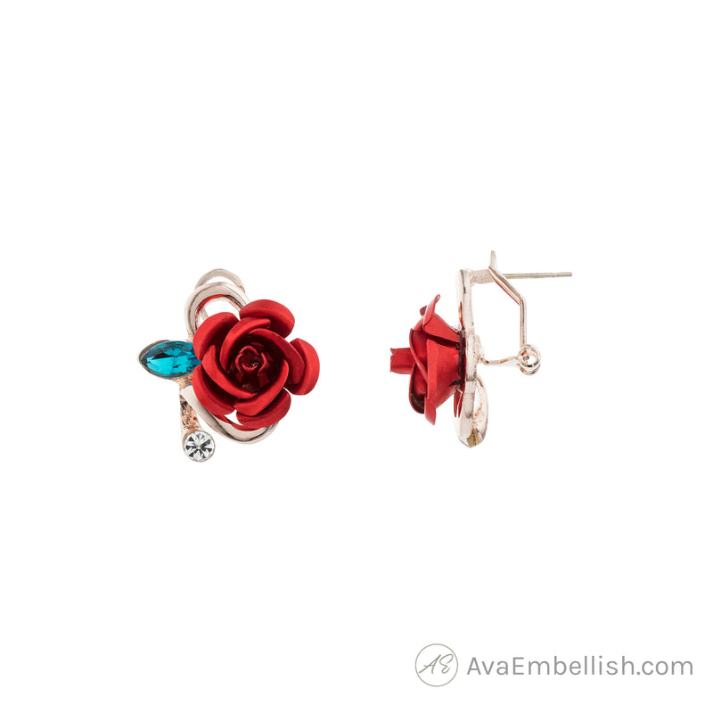 Romantic Red Rosette Studs