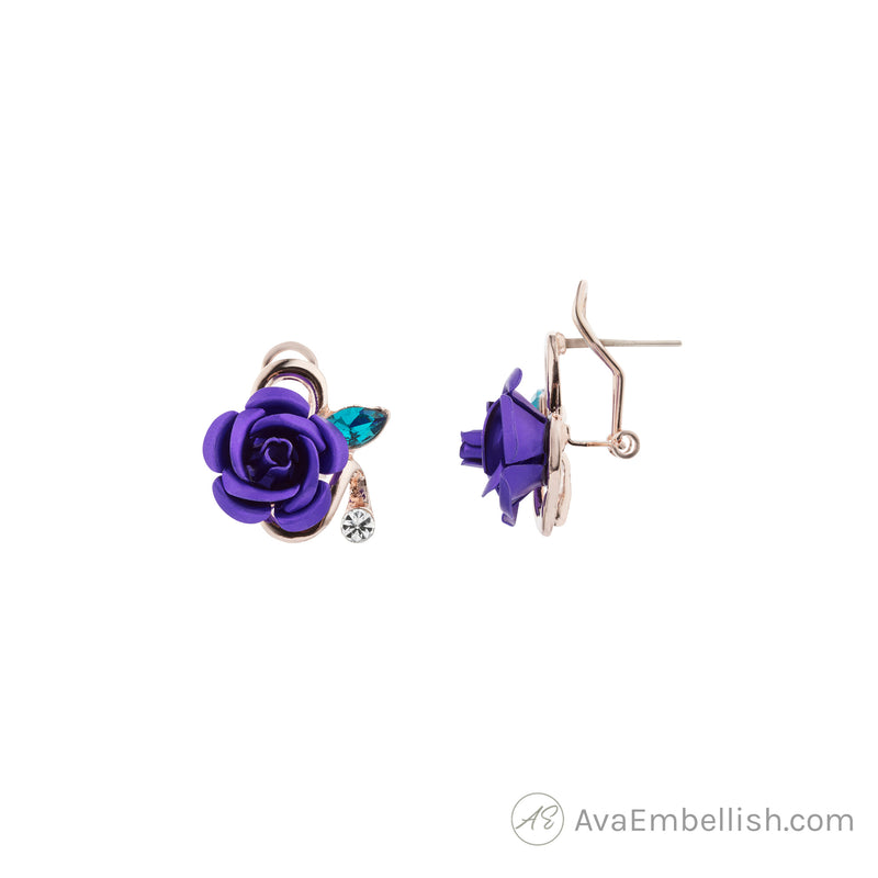 Pretty Purple Rosette Studs