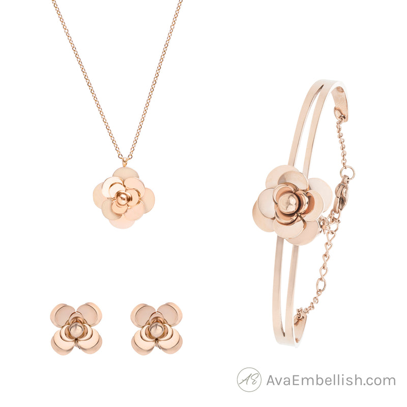 Rose Gold Camellia Jewellery Set