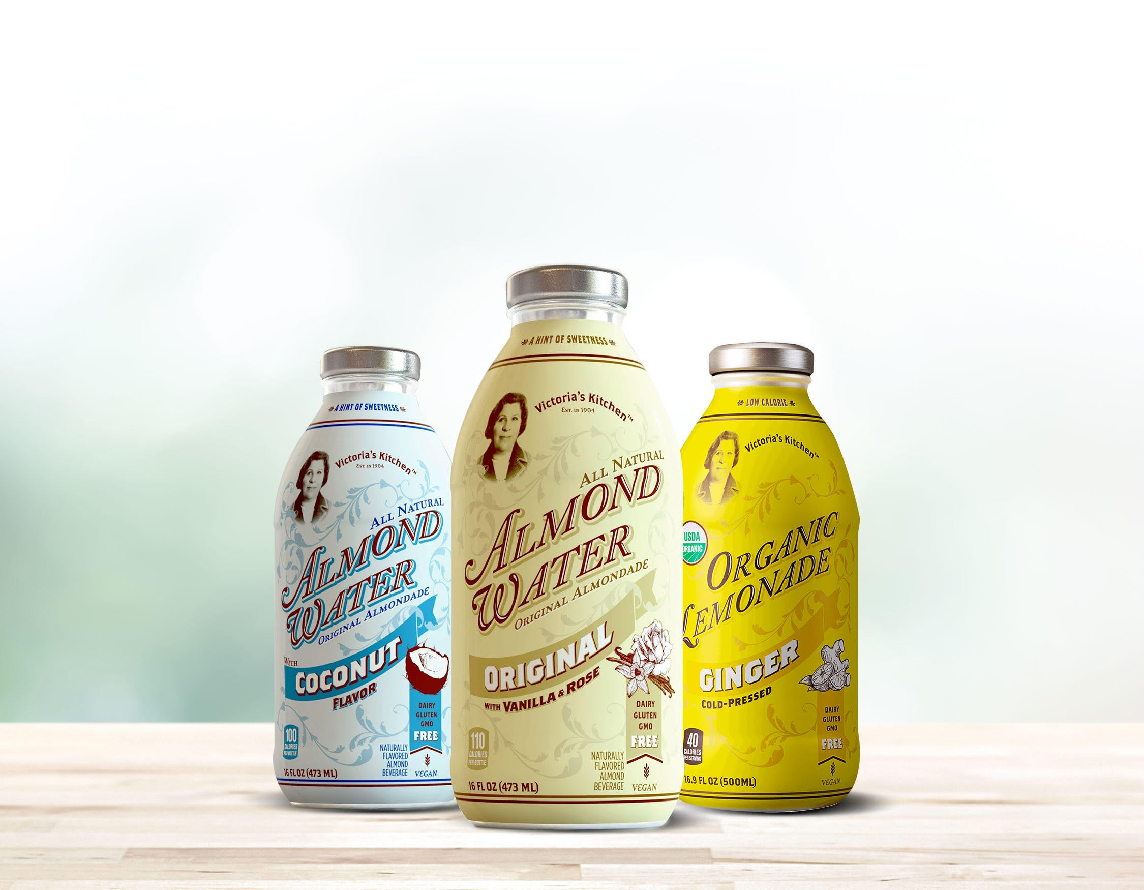 victorias kitchen is a specialty beverage brand producing all natural european inspired drinks the products include almond water organic ginger lemonade - Victorias Kitchen Almond Water