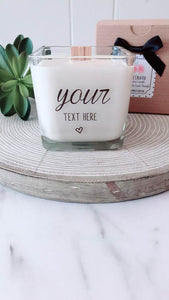 Create Your Own Message ~Personalized Soy Candle~Birthday Gift, Thank You Gift, Wedding Candle, Personalized Gifts, Custom Soy Candles, Wood Wick Soy Candles