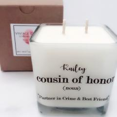 cousin of honor design soy candle personalized candles wedding
