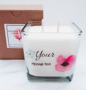 """Your Message Here"" ~Personalized Soy Candle~Birthday, Thank You, Wedding, Anytime"