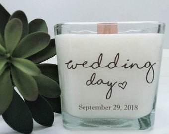 Wedding Day Soy Candle~Just Add Your Date~Personalized Wedding Gifts~Bridesmaids Box~Gifts for the Bride~Thank You Gifts~Wedding Candles~