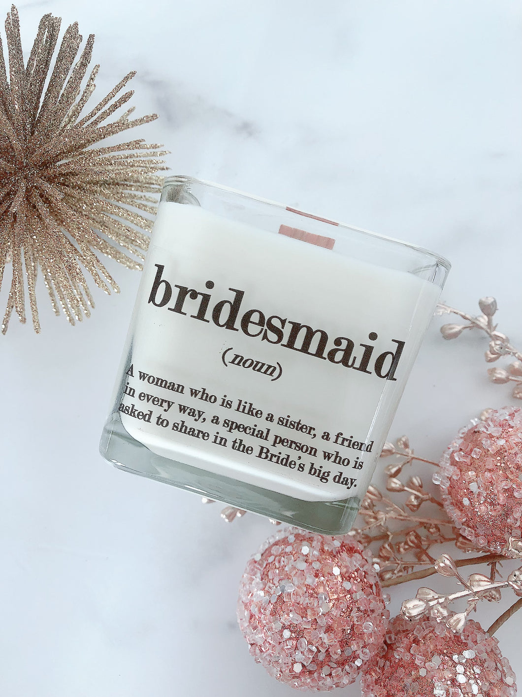 NEW Holiday Bridesmaid Soy Candle Gift ~ Personalized Wedding Candles
