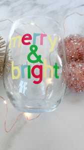 NEW Holiday Stemless Wine Glasses ~Personalized Name on Back~Holiday Gift ideas