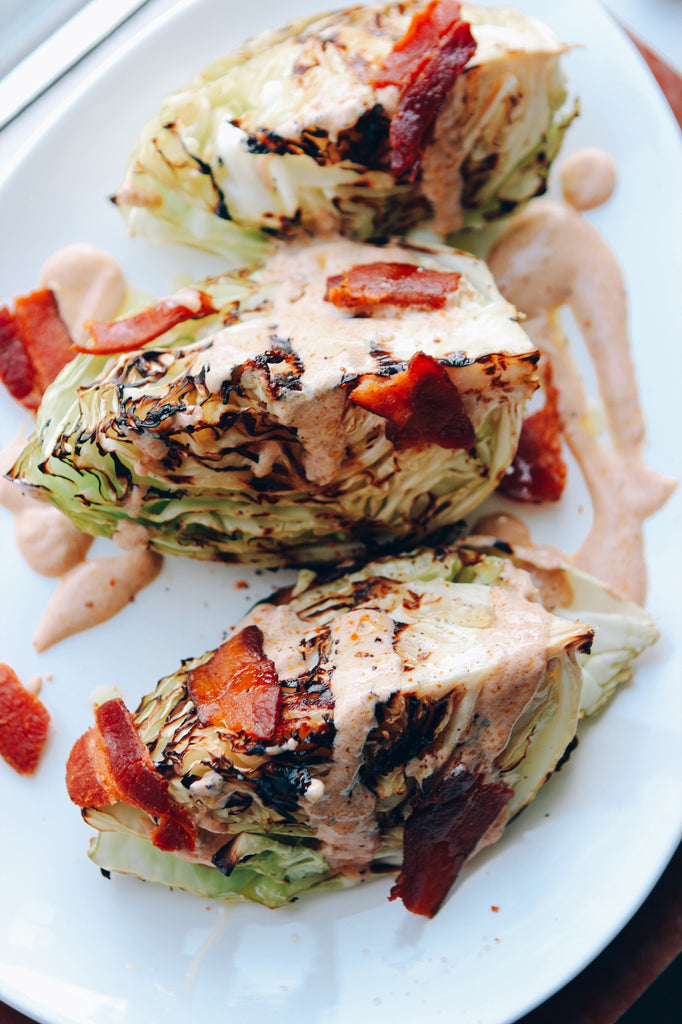 Grilled Napa Cabbage With Bacon & Smoky Yogurt Dressing