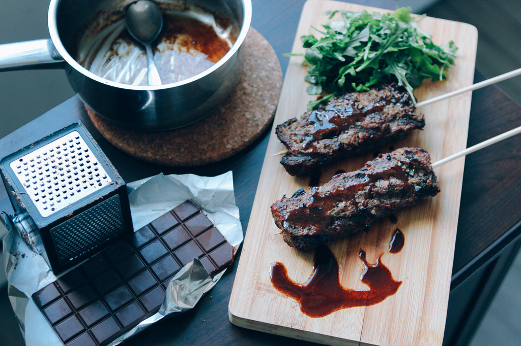 Bison Kebabs With Red Wine Chocolate Glaze