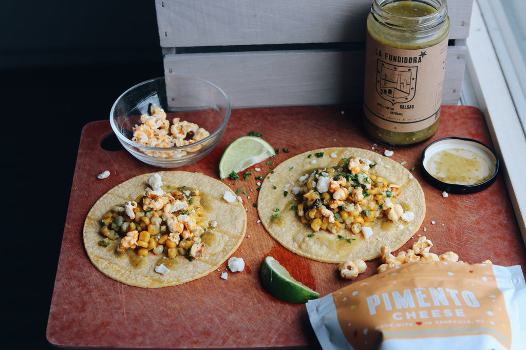 Elote (Mexican Street Corn) Tacos With Crumbled Pimento Cheese Popcorn & Fresca Salsa
