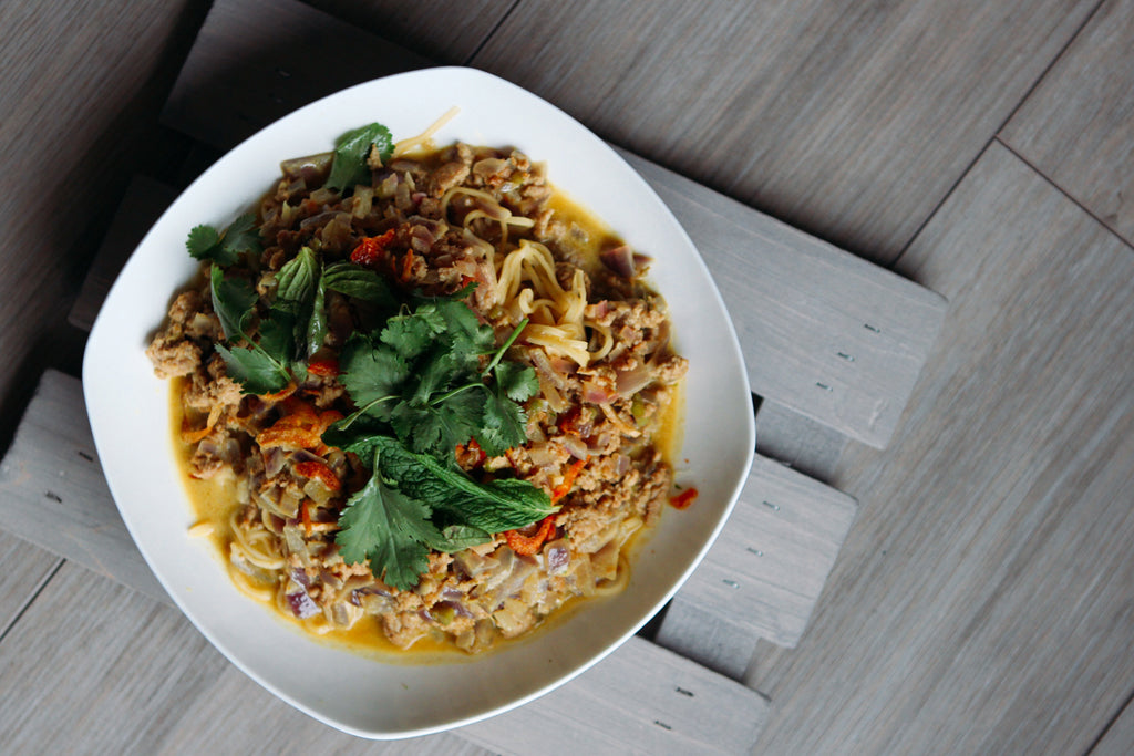 Coconut Curry Noodle Bowl With Pork