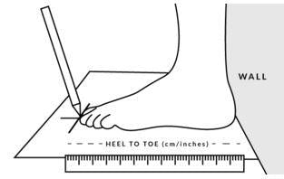 NuuSol-Foot Sizing heel against wall with pencil length measurement