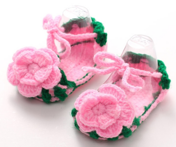 Crochet Floral Crib Shoes