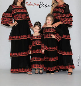 Gorgeous Ruffled Maxi Mother & Daughter Palestinian Black Dress Red Embroidery
