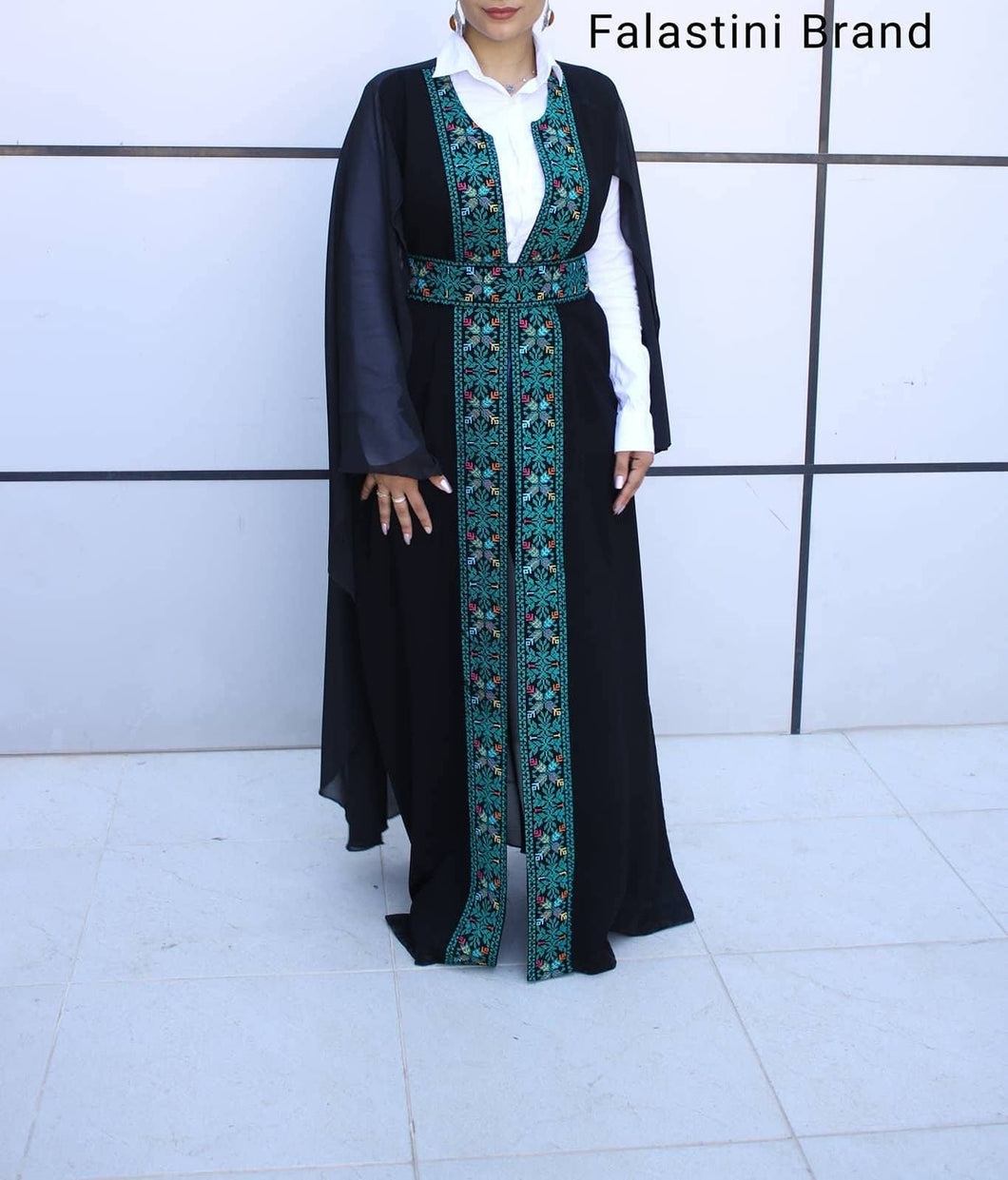 Free Size Black & Green Georgette Cloak Sleeve Elegant Embroidered Open Long Cape Style