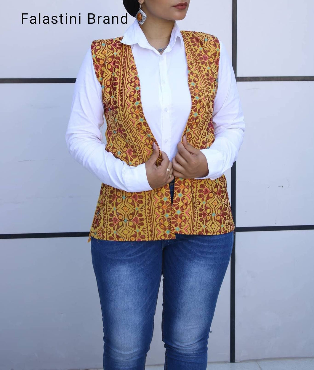Ochre Palestinian Embroidered Vest