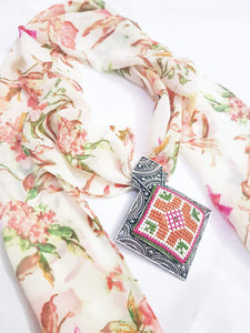 Spring colors scarf with embroidered pendant - Falastini Brand